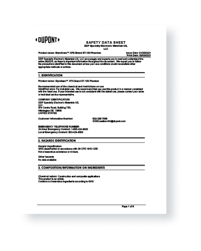 Example Safety Data Sheet