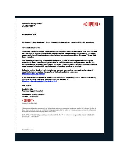 U.S. State HFC regulations compliance letter