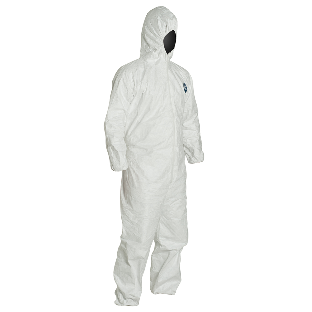 X-Large DuPont Tyvek 400 TY122S Individually Packed Disposable Protective Coverall with Elastic Cuffs Attached Hood and Boots for PPE Vending Machines White