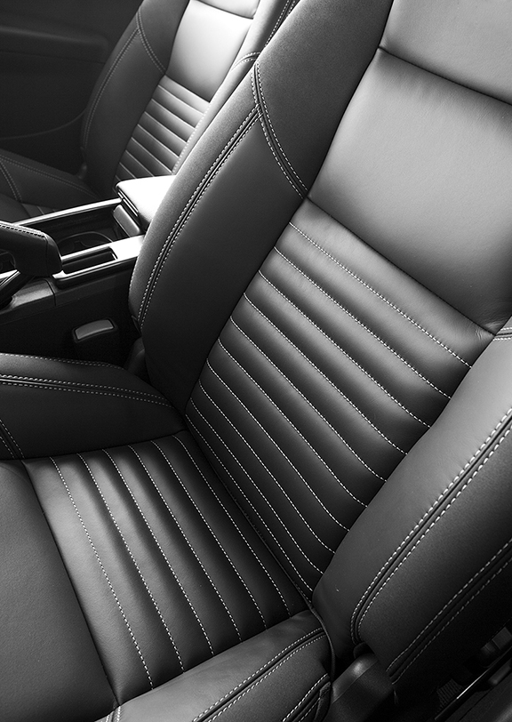 Black and white Ford car seats.