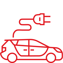 Red car and plug automotive connectors icon