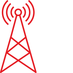 Red 5G telecom antenna icon