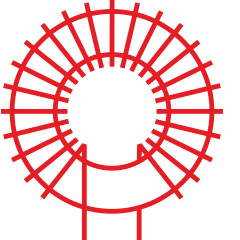 Red coil form & transformer icon