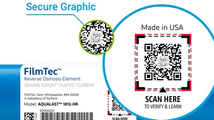 Magnification of the secure graphic and QR code that is on upper right side of the label of a genuine FILMTEC™ reverse osmosis element