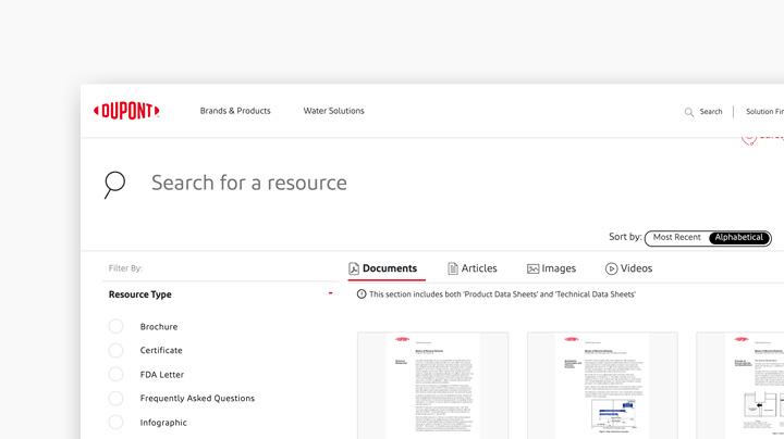 Resource center webpage with search and documents