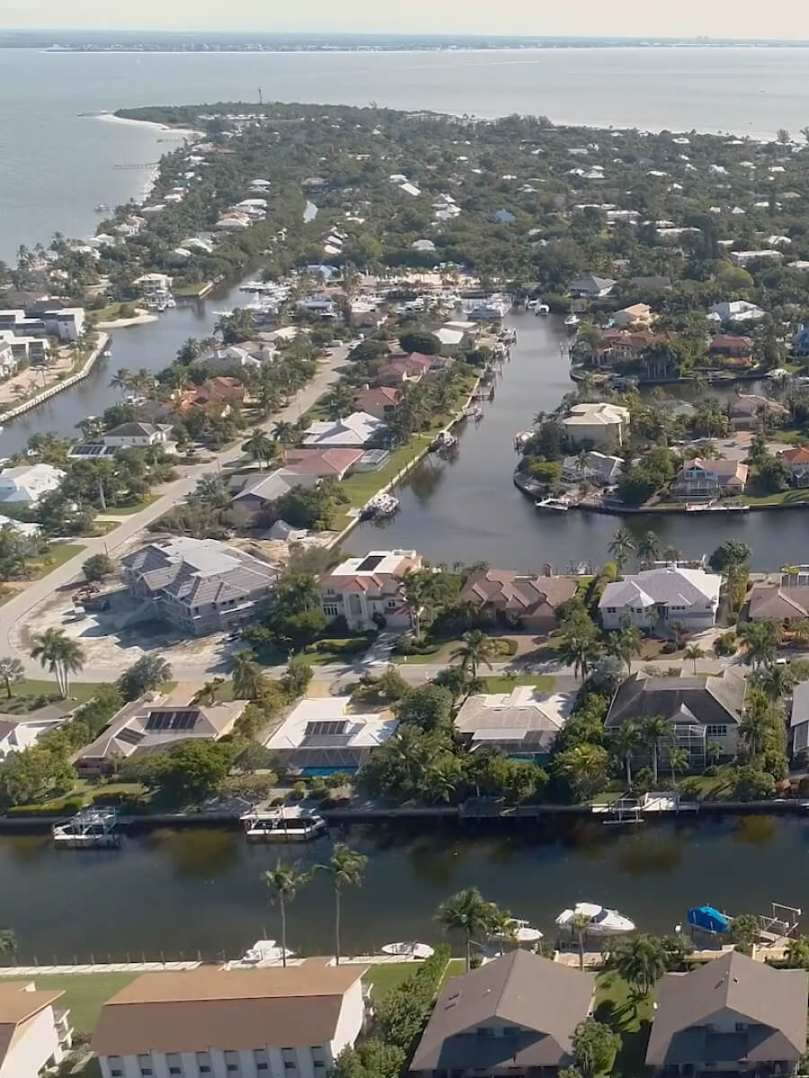 Ariel view of the canals and homes of Sanibel Island